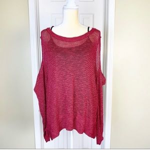 Maurices Crimson Open Knit Cold Shoulder Sweater